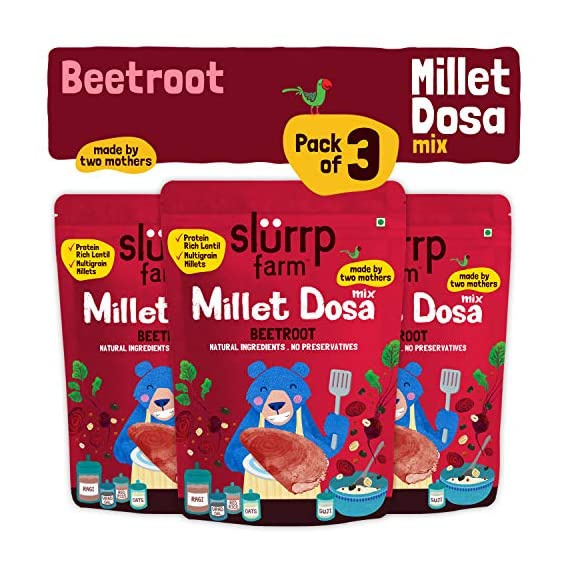 Slurrp Farm Millet Dosa Instant Mix, Supergrains And Beetroot, Natural And Healthy Food, 150g (Pack Of 3)