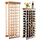 Perfect For Wine Lovers Space Efficient Storage Unfinished Natural Pinewood Construction 44 Bottles Display Wine Rack With Shelves Beautiful In Your Kitchen Or Home Decor