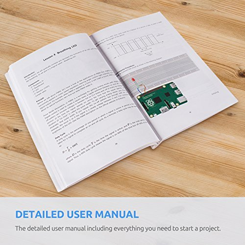 SunFounder Raspberry Pi 3 Model B+ Starter Kit Project Super Kit for RPi 3B+ 3B 2B B+ A+ Zero Including GPIO Breakout Board Breadboard LCD DC Motor LED RGB Dot Matrix 73 Page Manual User Guide by SunFounder (Image #5)