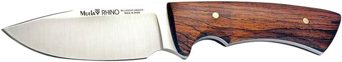 Electropolis Cuchillo Enterizo de Caza Muela Rhino Rhino-9.OL tama/ño Total 20 cm Tarjeta Multiusos de Regalo con Funda de Cuero cachas de Madera de Olivo