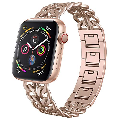 NO1seller Top Band Compatible for Apple Watch Series 4 40mm 44mm Series 3 2 1 38mm 42mm Women Men,Cowboy Stainless Steel Metal Replacement Accessories Iwatch Wristband Strap Bracelet