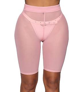 c956cc9e0c869 Doqcey Women's Perspective Sheer Mesh Ruffle Pants Swimsuit Bikini Bottom Cover  up