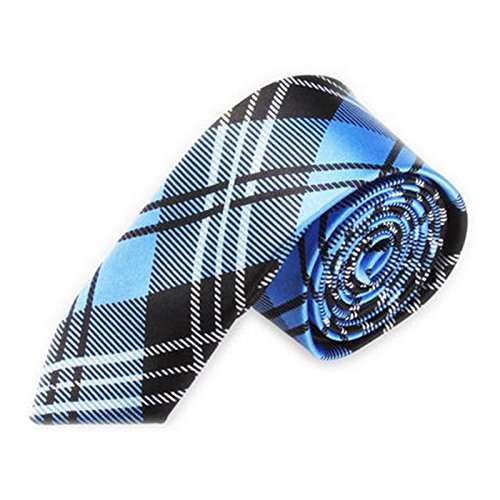 Men Slim Narrow Tie - TOOGOO(R)Men Fashion Casual Skinny Slim Narrow Tie Formal Wedding Party Necktie, #5 (Navy blue + Black Plaid stripes)