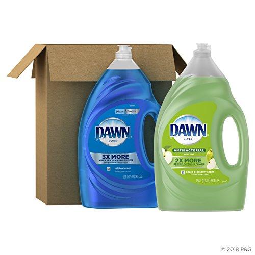 Dawn Ultra Antibacterial Dishwashing Liquid, Apple Blossom Scent + Dawn Ultra Dishwashing Liquid, Original Scent, 56 fl oz