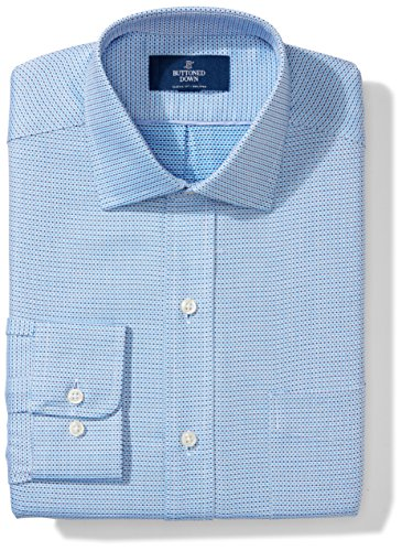 (BUTTONED DOWN Men's Classic Fit Spread Collar Pattern Non-Iron Dress Shirt, Blue/Navy Micro Check, 17.5