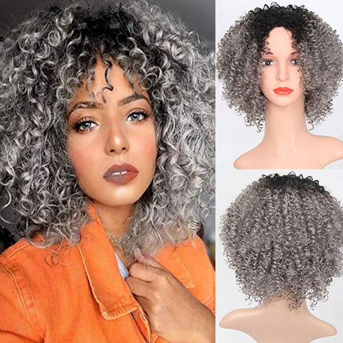 Blue Bird Fashion Synthetic Afro Grey Wig Short Bob Kinky Curly Cosplay Wigs with Middle Part for Women Party Show Natural Ombre Color from Black to Gray