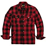 Coofandy Mens Cotton Coat Winter Jackets Lined Plaid Shirt Jacket,Large,Red