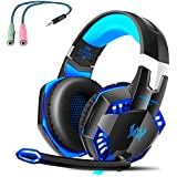 LESHP Gaming Headset PS4 Stereo LED Headband Wired Headphones Over Ear with Microphone for PC Computer Laptop Games with Noise Cancelling, Blue