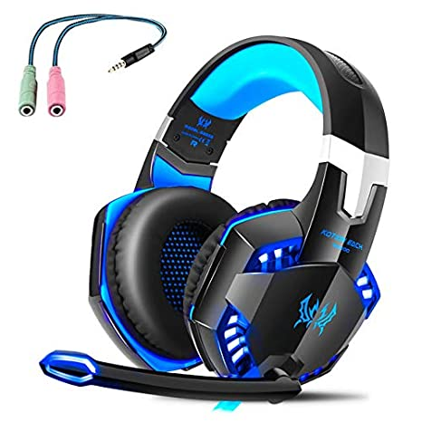 G2000 Gaming Headset, Tsing Professionelle Gaming Kopfhö rer mit Mikrofon, 3.5mm On Ear Surround Sound Ohrhö rer mit Bass-Stereo Lautstä rkeregelung fü r PC Laptop Tablet Mobile Phones Blau