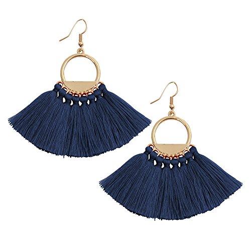 Blue Tassels Earrings Bohemia Ethnic Dangle Eardrop Fan Fringe for Women Girls -