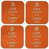 3dRose cst_159552_1 Keep Calm and Carry Om Yoga Meditation Soft Coasters, Set of 4
