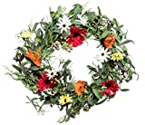 Red Co. 19'' Lovely Floral Spring, Artificial Spring & Summer Wreath, Door Backdrop Ornaments, Home Décor Collection