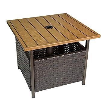 Amazon.com: Mesa de comedor de mimbre de mármol para patio ...