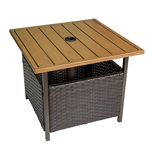 Marble Field Patio Wicker Bistro Dining Table, Square Umbrella Table with Storage Space, Garden Leisure Coffee Side Table ()