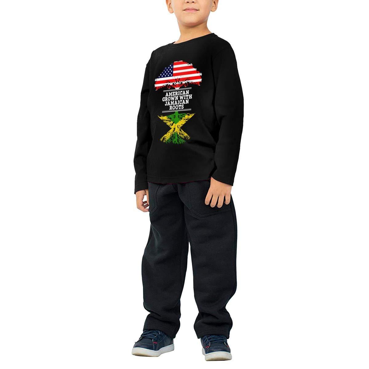 HADYKIDSLOVE American Grown with Jamaican Roots Kids T-Shirt Long Sleeve Boys Girls T-Shirt