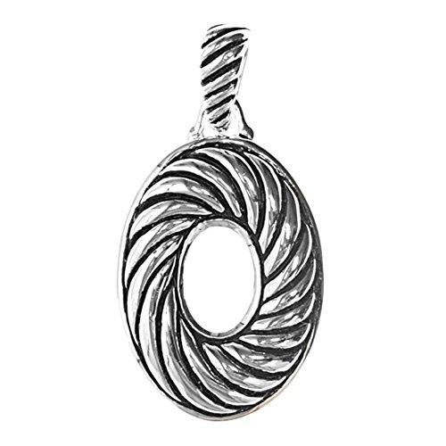 Pendant .925 Sterling Silver Swirl Oval Charm - Silver Jewelry Accessories Key Chain Bracelet Necklace Pendants (Sterling Silver Oval Swirls)