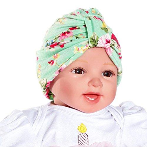Print Green Floral (Weiyun Baby Bowknot Headwear Hat Kids Bling Bowknot Turban Indian Cap Beanie Hat Baby Girls Toddler Headwear Head Wrap (Green))