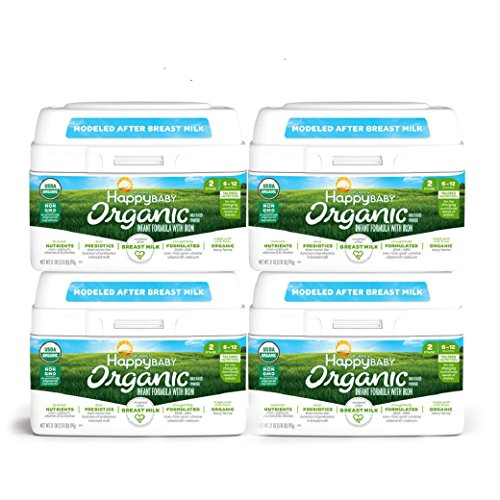 Happy Baby Organic Infant Formula Milk Based Powder with Iron, Stage 2, 21 Ounces, 4 Count