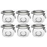 Nicola Spring Heart Design Glass Storage Airtight Food Preserve Jar with Clip Fasten, 500ml - Set of 6