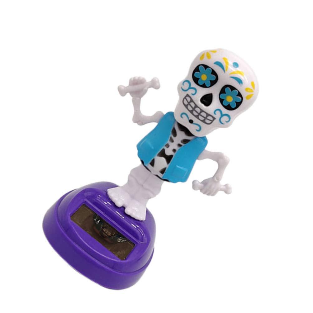 Amosfun Halloween Solaire Figurines Jouets de Danse Squelette secouant la t/ête Citrouille Pompon d/écorations Tableau de Bord de Voiture f/ête dhalloween favorise Fournitures Cadeaux