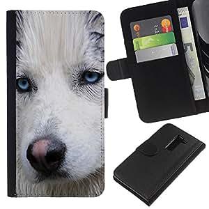 Stuss Case / Funda Carcasa PU de Cuero - Light Blue Eyes Muzzle Husky Dog Wet - LG G2 D800