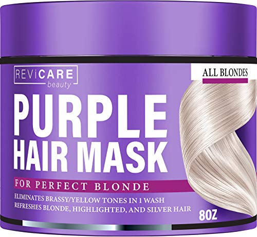 Purple Hair Mask - No Yellow Formula - Purple Toner for Ash, Platinum & Blonde Hair - Made in USA - Hair Toner w/Avocado Oil, Retinol & Silk Protein - Greatly Lighten Brassy Hair - No Yellow Mask (Best Ash Blonde Hair Dye For Yellow Hair)