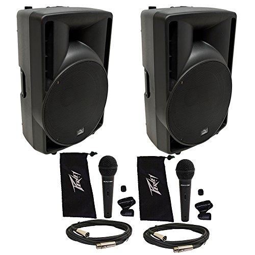 (2) Harmony Audio HA-C15A Pro DJ 15' Powered 1000W Active Speaker (2) Peavey Mic