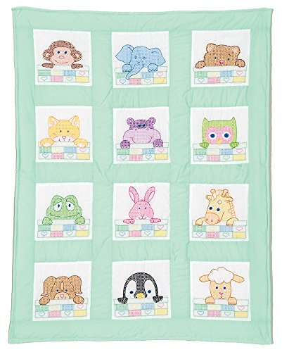 "Stamped White Nursery Quilt Block 9""X9"", 12/pkg, Peek-A-Boo"