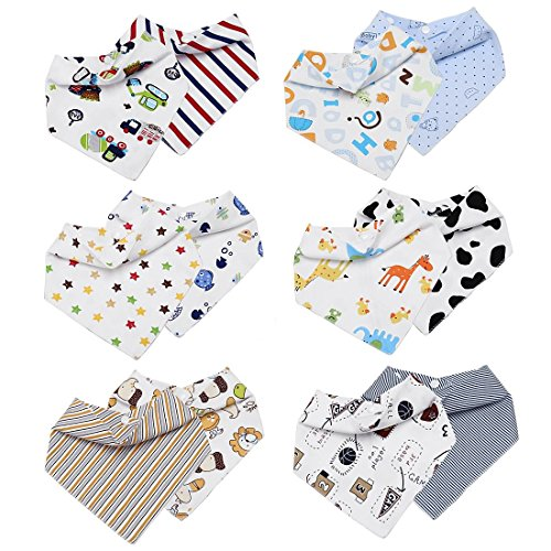 Bundle Monster Boys 12pc Various Art Design Baby Bandana Bibs With Snaps (Best Bandana Bib Pattern)