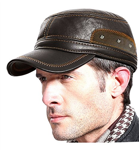 Styles Cold Weather Hats - SUMOLUX Winter Leather Cap with Earflap Military Cadet Army style Hats Flat Top Hat Adjustable for Outdoor Winter