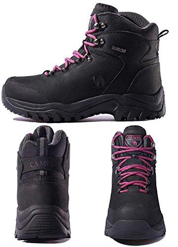 Mujer Senderismo de Botas Mujer magenta para Adventurer para Zapatos Senderismo CROWN Negro High Rise CAMEL de Botas P4Ftt6