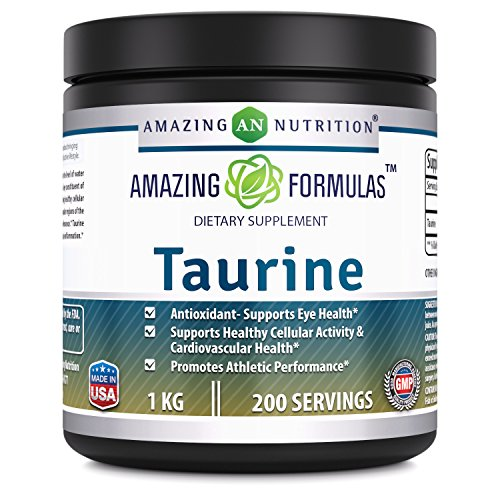 Amazing Nutrition Amazing Formulas Taurine – 1 kg (2.20 lbs) – 5000 mg Taurine Per Serving – Approx. 200 servings – Potent Antioxidant – Supports Eye Health, Healthy Cellular Activity & Cardiovascular Review