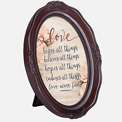 Love Bears Things Never Fails 6 x 8 Mahogany Finish Oval Shaped Picture - Frames Oval Shaped