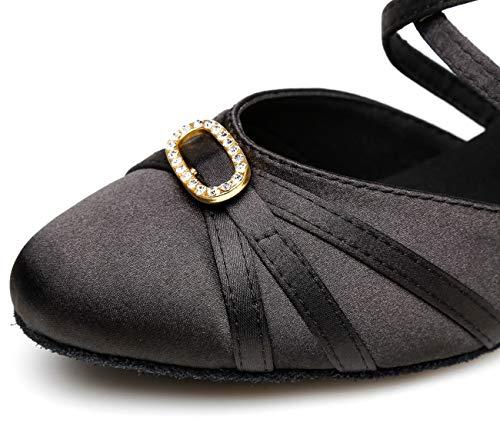 Da rhinestone Nero black Heel Minitoo 35 Sala 5cm Donna w6Ipnqad
