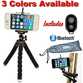 Flexible iPhone Tripod for Smartphone with Bluetooth Remote Control iPhone X 8 7 6S 6 SE 5S 5C 5 4s 4 Galaxy S8 S7 S6 S5 S4 - Mini Cell Phone Tripod Stand Adapter Gorillapod Tripod by DaVoice (Black)