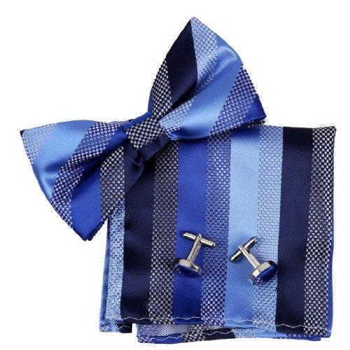 BT2127 Blue Stripes Fashion And Jewelry Silk Pre-tied Bow Tie (Pattern Silk Bow Ties)