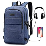 Ranvoo Laptop Backpack, Business Anti Theft Waterproof Travel Backpack with USB Charging Port Headphone interface for College Student for Women Men,Fits Under 15'6-Inch Laptop Notebook by SuSh (Blue)