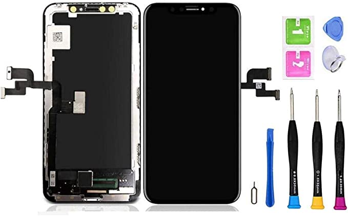 for iPhone Xs Screen Replacement Touch Screen Display Digitizer iPhone Xs Frame Assembly Repair Tool Adhesive Strips Compatible with Model A1920 A2097 A2100 A2098,A2099