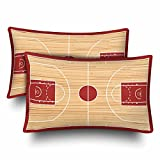 InterestPrint Sports Basketball Court Playtime Children Wood Pillow Cases Pillowcase Standard Size 20x30 Set of 2, Rectangle Pillow Covers Protector for Home Couch Sofa Bedding Decorative