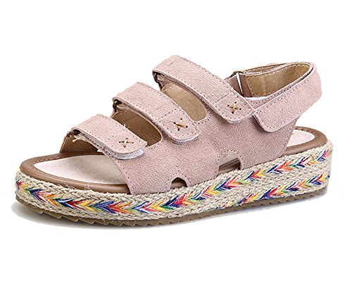 Getmorebeauty Women's Pink Weave Beach Ankle Straps Platform Flats Wedge Sandals US10
