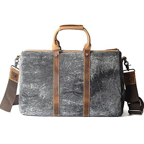 mefly nuevo estilo retro bolso Hombres obliquer corte transversal Canvas Bag Gran Capacidad Bolsa de viaje, negro y gris negro y gris
