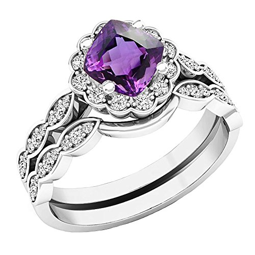 Dazzlingrock Collection 14K 5.5 MM Cushion Amethyst & Round Diamond Ladies Halo Engagement Ring Set, White Gold, Size 7