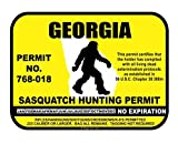 JS Artworks Georgia Sasquatch Hunting Permit License Bigfoot Vinyl Sticker Decal