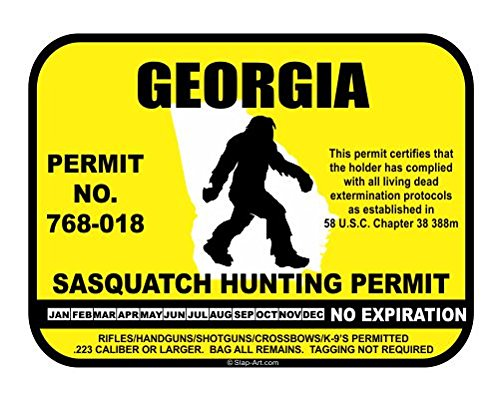 Georgia Sasquatch Hunting Permit License Bigfoot Vinyl Sticker Decal