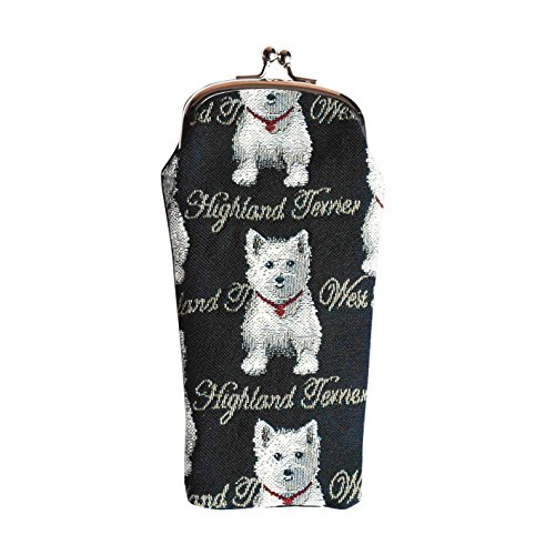 Black & White Dog Print Westie Tapestry Eyeglasses Pouch Sunglasses Bag Spectacle Pouch by Signare (GPCH-WES)