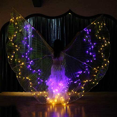 Belly Dance LED ISIS Wings Glow Light Up Disfraces con Palos,C