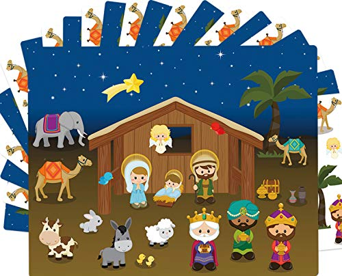 Nativity Stickers with Backgrounds 12 Sets Make-A-Nativity Scene