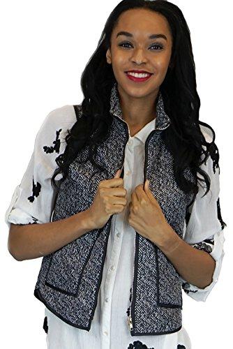 Wanna Herringbone Printed Padded Vest