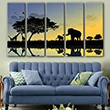 NIKUD-Set of 5 Stretched Frame Canvas Prints Wall Decoration Home Decor Living Rooms Offices Bedrooms Sunset Animals Decorative Printing Painting,30cm90cm5Panels,#FP1319