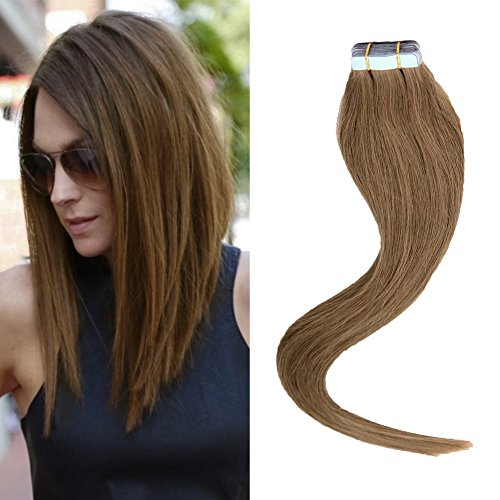 BETTY tape In Human Hair Extensions - 16 18 20 22 24 Inch 20pcs 30g-70g Set - Silky Straight Skin Weft Human Remy Hair (20inch, #10)